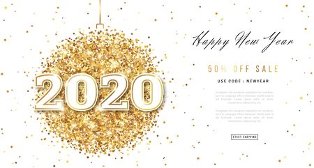 Illustration for Happy New Year 2020 Greeting Card with Numbers. Christmas Ball with Texture of Golden Dust on White Background. Vector Illustration. - Royalty Free Image
