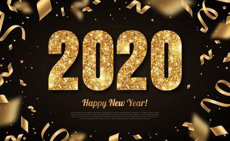 Illustration pour 2020 New Year gold on black - image libre de droit