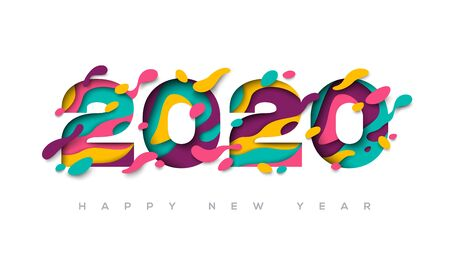 Ilustración de 2020 Happy New Year greeting card with 3d abstract paper cut shapes on white background. Vector illustration. - Imagen libre de derechos