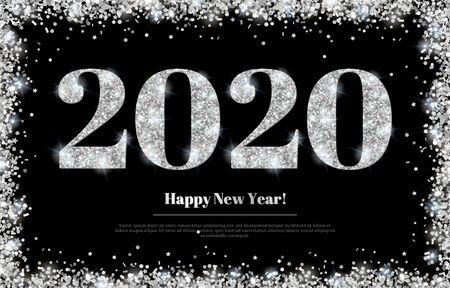 Silver 2020 and Confetti Frame