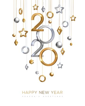 Illustration pour Gold and silver New Year 2020 - image libre de droit