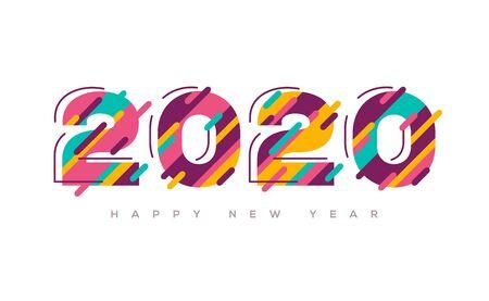 Illustration pour 2020 Happy New Year colorful - image libre de droit