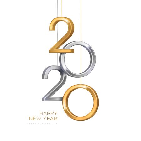 Ilustración de 2020 silver and gold numbers hanging on white background. Vector illustration. Minimal invitation design for Christmas and New Year. - Imagen libre de derechos