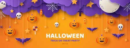 Ilustración de Happy Halloween banner or party invitation background with clouds,bats and pumpkins in paper cut style. Vector illustration. Full moon in the sky, spiders web and stars. Place for text - Imagen libre de derechos
