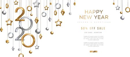 Ilustración de Christmas and New Year banner with hanging gold and silver 3d baubles and 2020 numbers on black background. Vector illustration. Winter holiday geometric decorations - Imagen libre de derechos