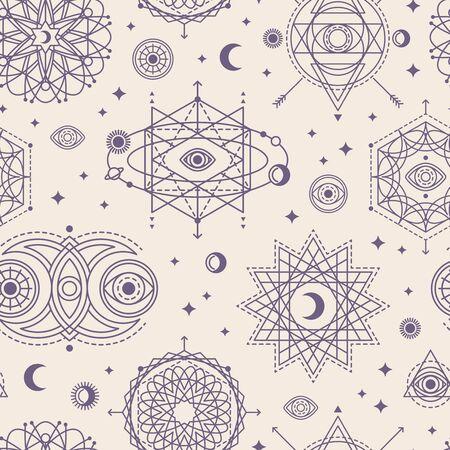Ilustración de Pattern with Sacred Geometry Forms - Imagen libre de derechos