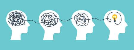 Illustration pour Brain with tangled knot - image libre de droit