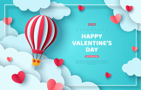 Illustration pour Hot air balloon floating in blue sky and paper cut clouds. Romantic adventure for honeymoon or wedding invitation design. Place for text. Happy Valentines day sale brochure template with cute hearts. - image libre de droit