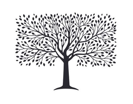 Illustration pour Olive tree silhouette isolated on white background. Vector illustration. Premium quality extra virgin oil, nature logo - image libre de droit