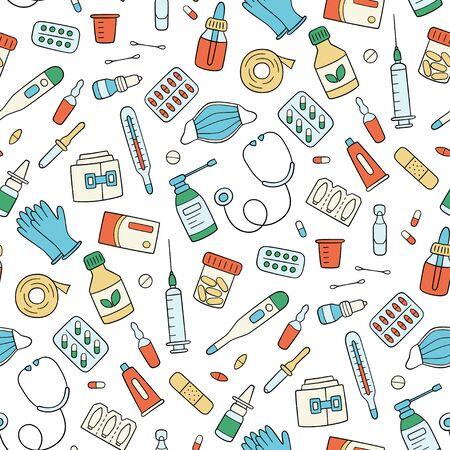 Illustration pour Meds, drugs, pills, bottles and health care medical elements. Color seamless pattern. Vector illustration in doodle style on white background - image libre de droit