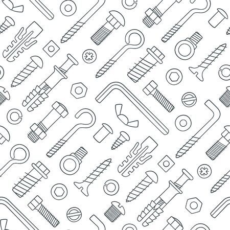 Illustration pour Seamless pattern of fasteners. Bolts, screws, nuts, dowels and rivets in doodle style. Hand drawn building material. Black and white vector illustration on white background - image libre de droit