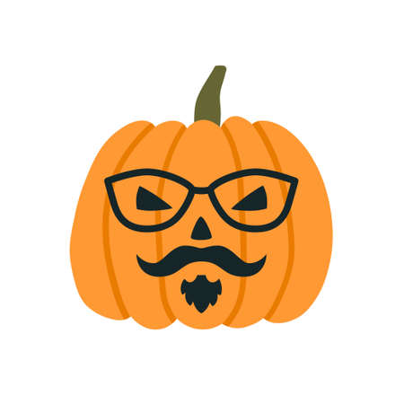Illustration pour Halloween Pumpkins in the image of a hipster with glasses, mustache and beard. Vector illustration on white background - image libre de droit