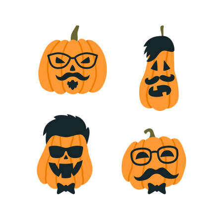 Illustration pour Halloween Pumpkins in the image of a hipster with glasses and mustache. Vector illustration on white background - image libre de droit