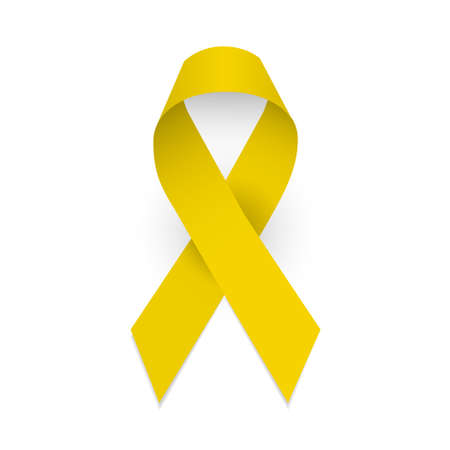 Illustration for Yellow awareness ribbon. Spina bifida and childhood cancer awareness symbol. Isolated vector illustration on white background - Royalty Free Image