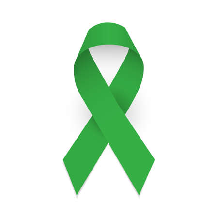 Illustration for Green awareness ribbon. Symbol of cerebral palsy and Mental health. Isolated  illustration on white background - Royalty Free Image