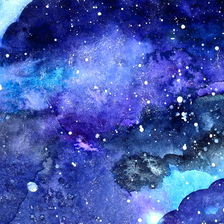 Space texture with glowing stars. Night starry sky with paint strokes and swashes. Vector il