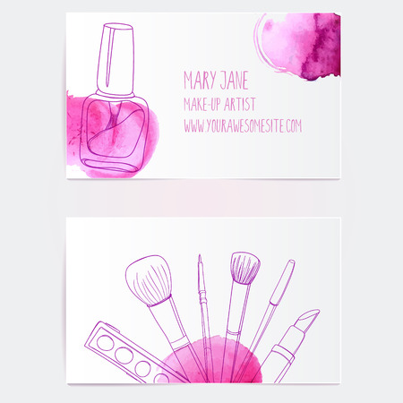 Make up artist business card template. Vector layout with hand drawn illustrations of nail polish tube, makeup brush, eyeliner, lipstick and palette with pink paint swatches.