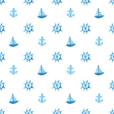 Nautical pattern with hand painted watercolor ship anchor and wheel. Blue vector repeating