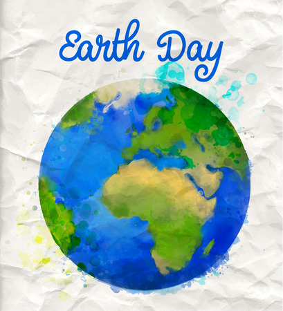Earth day poster with watercolor globe vector illustration on rumple pape