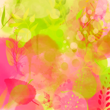Nature inspired pink and green background, watercolor texture and leaves. Vector design for spring advertisement, banners, cards.
