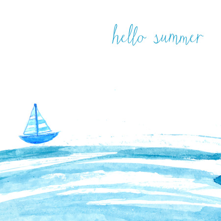 Illustration pour Blue watercolor sea with ship and text hello summer. Artistic vector background. - image libre de droit