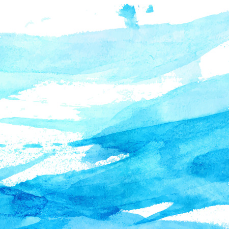 Blue watercolor texture with brush strokes and stains. vector background