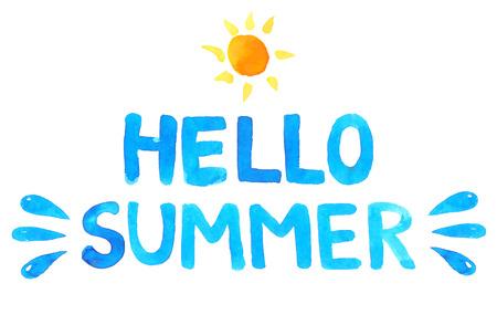 Illustration pour Hand drawn text hello summer. Blue vector watercolor letters and sun. - image libre de droit