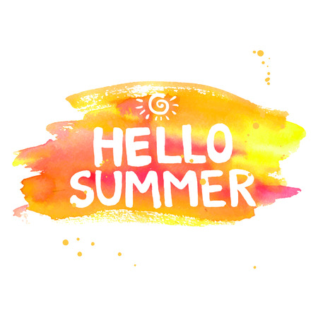 Hello summer lettering on orange watercolor stroke. Vector illustration with sun.