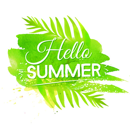 Hello summer banner on green watercolor paint stroke background. Vector artistic designのイラスト素材