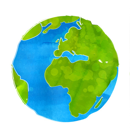 Artistic illustration of Earth globe isolated on white background. Watercolor style with swashes, spots and splashes.