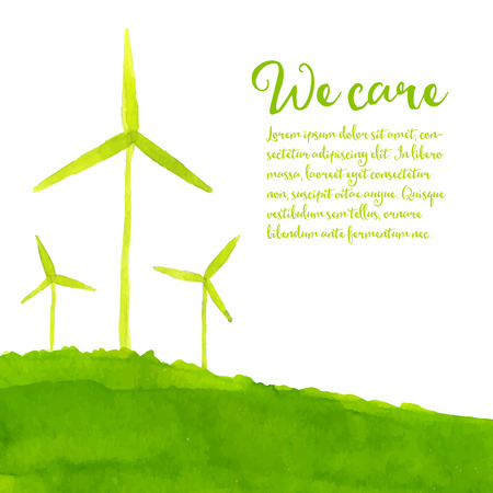 Green eco background with hand painted wind turbines on the hill. Ecology concept. watercolor illustration.