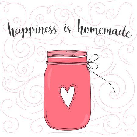 Illustration pour Happiness is homemade. inspirational quote, typography art. Vector phase on pink jar. Lettering for posters, cards design. - image libre de droit