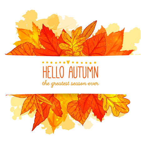 Hello autumn banner with orange and red hand drawn leaves. Vector fall background with golden leaf.のイラスト素材