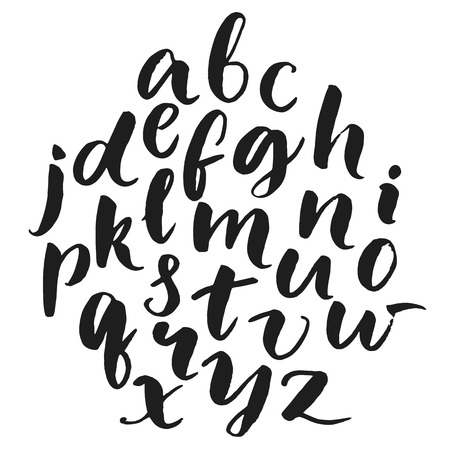 Illustration pour Typography poster with lowercase english alphabet at round composition. Modern brush calligraphy isolated on white background. Vector abc. - image libre de droit