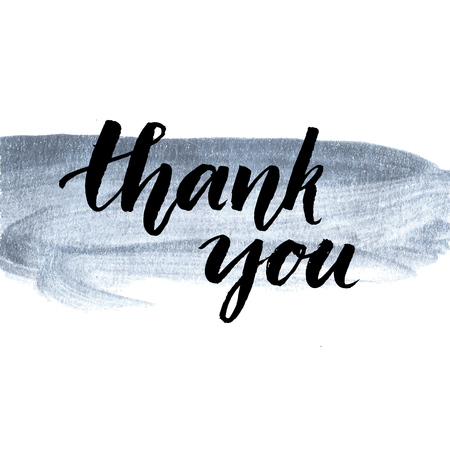 Thank you. Calligraphy phrase handwritten on silver paint stroke. Brush lettering for client service, message after purchase. Vector design.