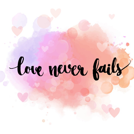 Foto de Love never fails. Black inspirational quote on pastel pink background, brush typography for poster, t-shirt or card. Vector calligraphy art. Romantic phrase about love and relationship - Imagen libre de derechos