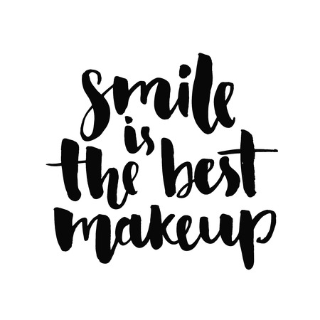 Smile is the best makeup. Inspirational quote handwritten with black ink and brush, custom lettering for posters, t-shirts and cards. Vector calligraphy isolated on white background