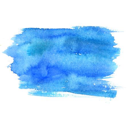 Foto de Blue watercolor stain isolated on white background. Artistic paint texture. - Imagen libre de derechos