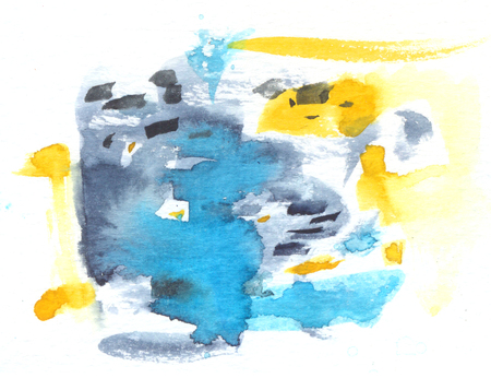 Photo pour Abstract watercolor texture with painted stains and strokes. Delicate artistic background with blue, gray and yellow touches. - image libre de droit