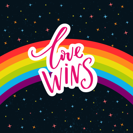 Illustration pour Love wins. Words on rainbow parade flag at dark sky with stars. Gay pride saying for stickers, t-shirts and posters. - image libre de droit