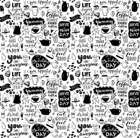 Illustration pour Cafe seamless pattern. Hand drawn tea and coffee pots, desserts and inspirational captions. Menu cover design, wallpaper stencil. Black and white typography background. - image libre de droit
