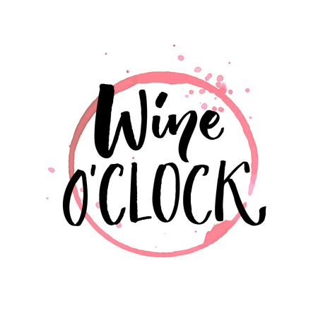 Illustration pour Wine oclock. Funny quote for posters and social media. Bar and restaurant wall art. Hand lettering with red wine glass spoiled stain - image libre de droit