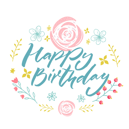 Ilustración de Happy Birthday - blue text in floral wreath with pink flowers and branches. Greeting card template. - Imagen libre de derechos