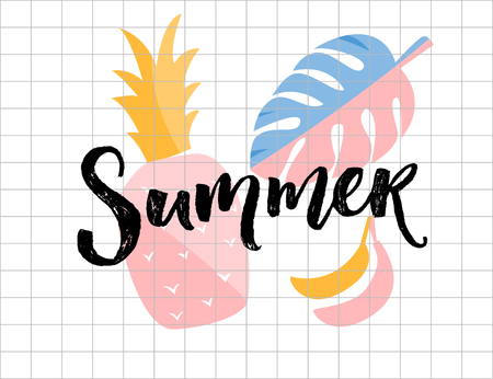 Ilustración de Summer poster. Calligraphy word with pineapple, monstera leaf and banana illustrations. - Imagen libre de derechos