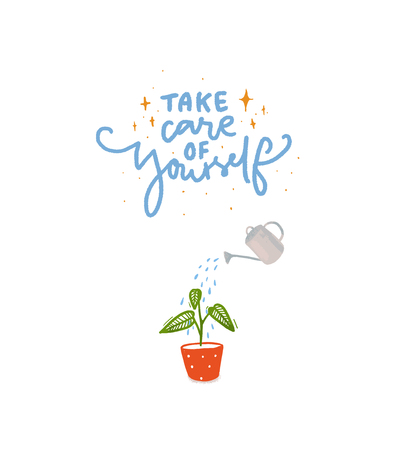 Illustration for Take care of yourself. Hand lettering inscription with illustration of plant watering with water can - Royalty Free Image