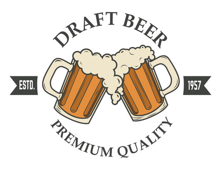 draft beer vector illustration. icon,badge or label design template. Pab or bar icon.