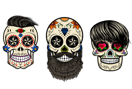 Ilustración de Three Sugar skulls with hair and beards. The day of the Dead. The template for printing on T-shirts. Vector illustration. - Imagen libre de derechos