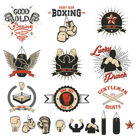 Set of the boxing club labels