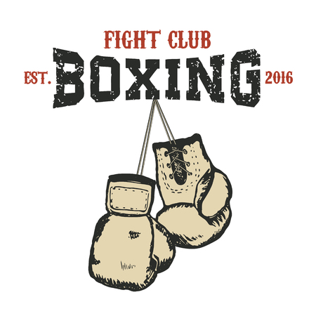 Boxing club emblem. Two boxing gloves in grunge style. design element.