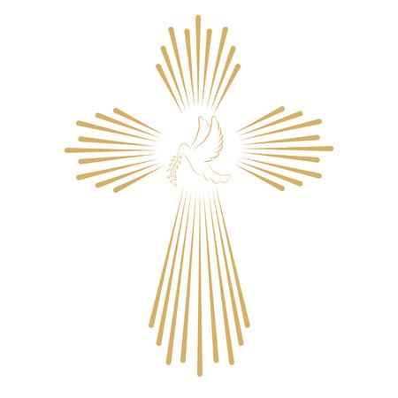 Illustration pour Cross with the dove. Church emblem template. Vector design element. - image libre de droit